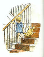 Pooh coming downstairs by ilustrated by Ernest Shepard